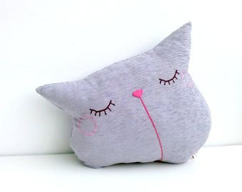 pillow, cat pillow, throw pillow, decorative pillow, sofa pillow, sofa cushion, purple throw pillow, cute pillow, animal pillow