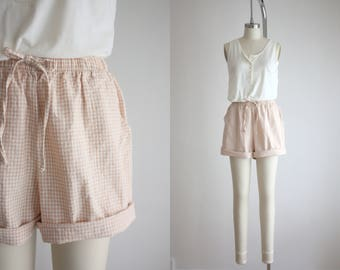 high waisted peach gingham shorts