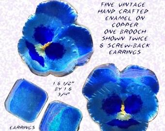 OH BOY SALE Brooch & Earrings~Vinatge Vivid Blue Purple Enamel on Counter-enameled Copper ~ Mint