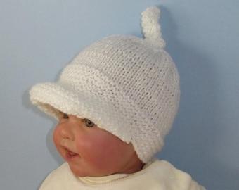 40% OFF SALE Digital pdf file knitting pattern only -  Baby Peak Cap Topknot Beanie hat  pdf download knitting pattern