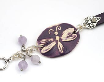 Purple dragonfly bracelet, ceramic leather silver, amethyst beads, 7 1/2 inches long