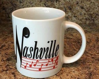 Christmas Sale Vintage Mug NASHVILLE Souvenir Coffee Cup 1980s Tennessee