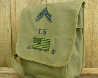US Canvas Messenger Bag - Ipad Tablet Tech Bag - Hand Painted and Military Patches
