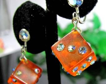 Vintage AMBER BAKELITE DICE Earrings Ab Rhinestone Dangle Silver Tone Screw On