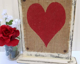 Home decor or Wedding table sign, sweetheart table decor, heart in red,  ivory or white paint, wood burlap, tabletop sign, rustic HEART