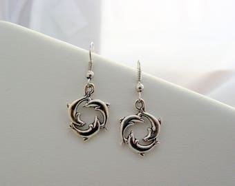 Dolphins Swimming Circle Earrings 3 Dolphins Swimming In The Circle of Life Earrings