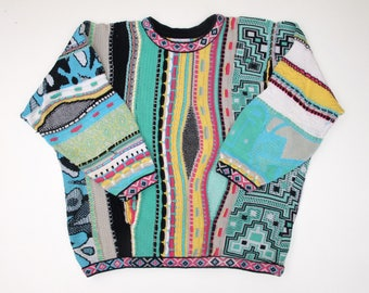 COOGI Australia M Pullover Sweater Pattern Special Price COLORFUL 3D Mens M L Cropped, Mercerised Cotton Coogi Hip Crew Neck Multicolor