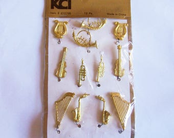 """KCI Miniature Musical Instruments Cake Trims Decorations for Craft, Harp is 1 5/8"""""""