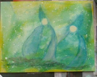 The gnomes - Waldorf inspired original painting - Nice gift