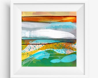 Digital Print, Abstract Printable Art, Abstract Art Print, Square Abstract Print, Bright Colorful Abstract Landscape - Meditation Series
