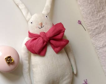 White soft bunny rabbit with pink ribbon. Soft toy. Ready to ship