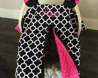 Super Cute Baby Car Seat Covers - BLACK Quatrefoil and Hot Pink Minky - Bows Incl - Baby Girl - Shower Gift