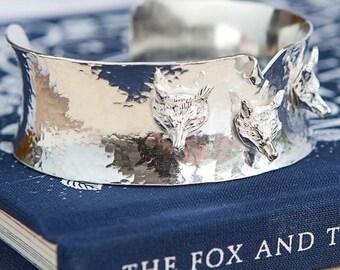 Sterling silver 3d fox head cuff bracelet