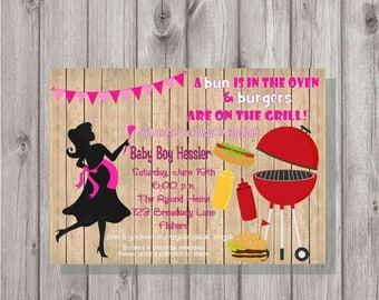 ON SALE Digital Rustic Silhouette Pink Girl BaByQ Cookout Bbq Barbecue Party Baby Shower Invitation Printable