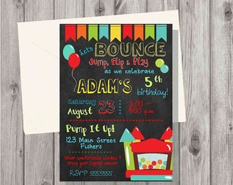 ON SALE Digital Bounce House Boy Red Chalkboard Style Birthday Party Invitation Printable