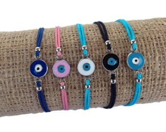 Evil eye bracelet  - handmade jewelry - stainless steel - protection - Greek jewelry - Gift for her