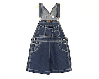 Tommy Hilfiger Overalls 90s Denim Jumper Bib Shortalls 1990s Jean Romper Shorts Bibs Cuffed Tommy Sports Pastel Goth Aesthetic Y2K Medium
