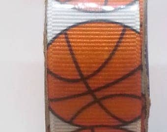 9 feet spool 7/8 Inch Grosgrain Basketball Theme Ribbon