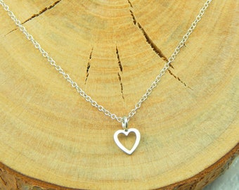 Silver Heart Necklace,Sterling Silver Open Heart Necklace,Sterling Necklace,Heart Charm Necklace,Layering Necklace