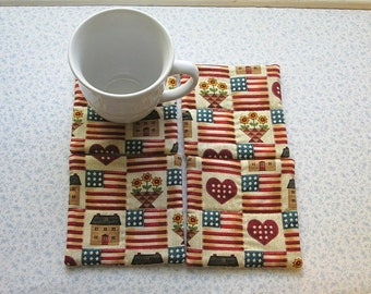 hand quilted americana set of mug rugs coasters