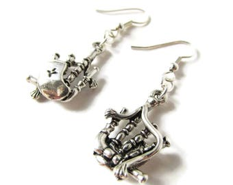Antique Silver Bagpipe Earrings