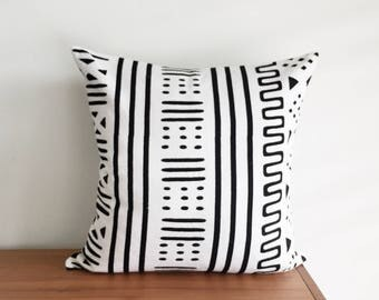 """African Woven Mudcloth Print, 20x20"""" Pillow Cover"""