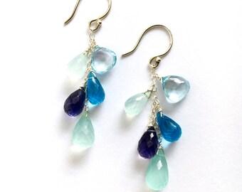 Light Blue Topaz and Violet Gemstone Earrings. Ocean Blue Chalcedony Iolite Topaz Sterling Silver Earrings