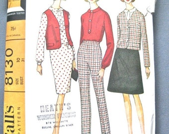 ON SALE Vintage McCall's 8130 1960s Vintage Coordinating Separates Sewing Pattern  Bust 31 inches