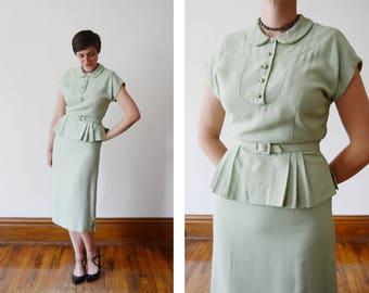1940s Sea-foam Green Skirt and Top Set - XS/S