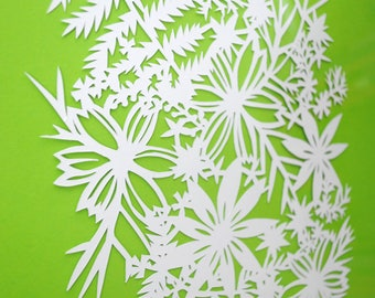 flower and leaves - PAPER CUTTING - handmade art, unique wall art, details, pattern, texture, choose your own color, square, modern, white