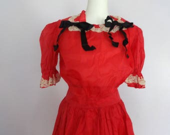 Vintage 1950's Red Nylon Party Dress Sheer