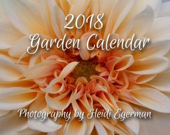 Small Flower Garden Calendar, 2018 Garden Calendar, Full -Color 12-Month Calendar, Floral Images