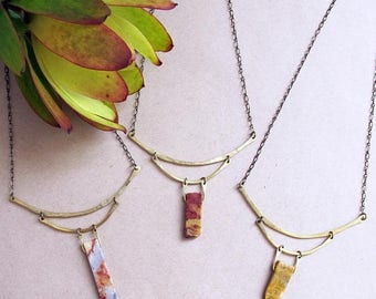 ON SALE Sepia Mountain Necklace - Agate and Brass Collar style necklace - Statement Rustic Necklace