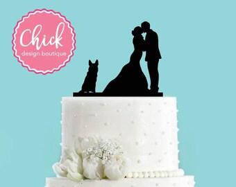 Couple Kissing with German Shepherd Dog Sitting Wedding Cake Topper