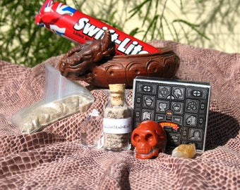Dragon Censer Altar Kit~Jasper Skull and Incense~Hand Made Dragon Scale Altar Cloth