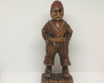 Vintage Pirate Figurine, Syroco Wood, 1940s, Rustic Decor, Collectible