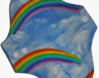 Light Hemp Core- Rainbows Reusable Cloth Pantyliner Pad- WindPro Fleece- 8.5 Inches