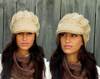 Textured Cap Newsboy Hat Crochet Cap Womens Hat Satin Lined Cap Chunky hat Knit Brim Cap Wheat Cream OR Choose Your Color