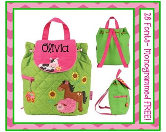 28 Fonts- Toddler Girl's FARM Quilted Personalized Backpack- Preschool, Day Care, Diaper Bag Monogrammed FREE!