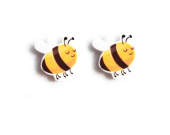 Handmade Illustrated Bee Studs Earrings