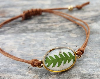 Real Fern Bracelet - Green Fern and Birch Bark Adjustable Bracelet - Nature Jewelry