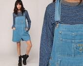 Jean Overall Shorts 90s Denim Shorts Bib Shortalls NO EXCUSES Romper Playsuit Grunge Suspender Blue Woman 1990s Vintage Large