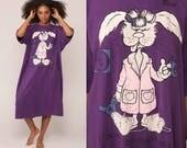 Nightgown Pajama Dress I DON'T DO MORNINGS Nightie 80s Graphic Rabbit Pajamas Retro Night Shirt Bunny Cartoon Purple Midi Small Medium Large