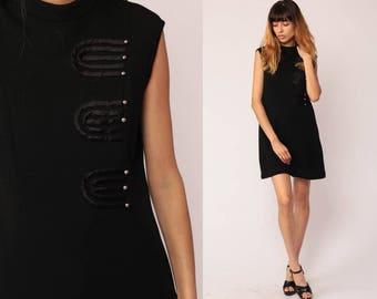 Black Mini Dress 60s Mod Shift Mini LBD Twiggy Party ASYMMETRICAL BUTTON Up Gogo 70s Vintage Retro Go Go MiniDress Sleeveless Large