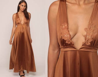 Evening dress v neck 70s dress