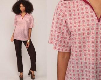 70s Shirt Geometric Shirt Nerd Retro Half Zip Up Polo Collared Grandpa 1970s Geek Short Sleeve Burgundy Red Print Large