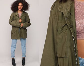 Field Jacket Military 80s Army Coat Commando Cargo Grunge Oversized Olive Drab Green Vintage Camo Anorak Shoulder EPAULETTE Small