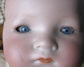 Armand Marseille My Dream Baby Doll AM Germany 341./3 Blue Eyes Painted Head Detail As Is Comp Hands Cloth Body Old Ecru Gown C Full Details