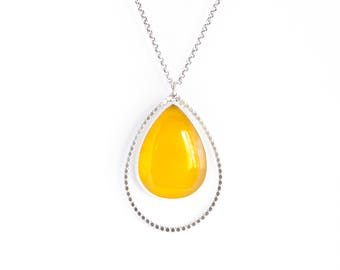 Aurelia necklace - bright golden yellow chalcedony and sterling silver teardrop raindrop modern minimalist pendant