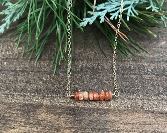 Sunstone and 14k Gold Filled Chain Necklace